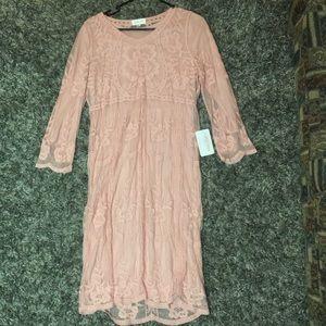 Knee length blush pink dress